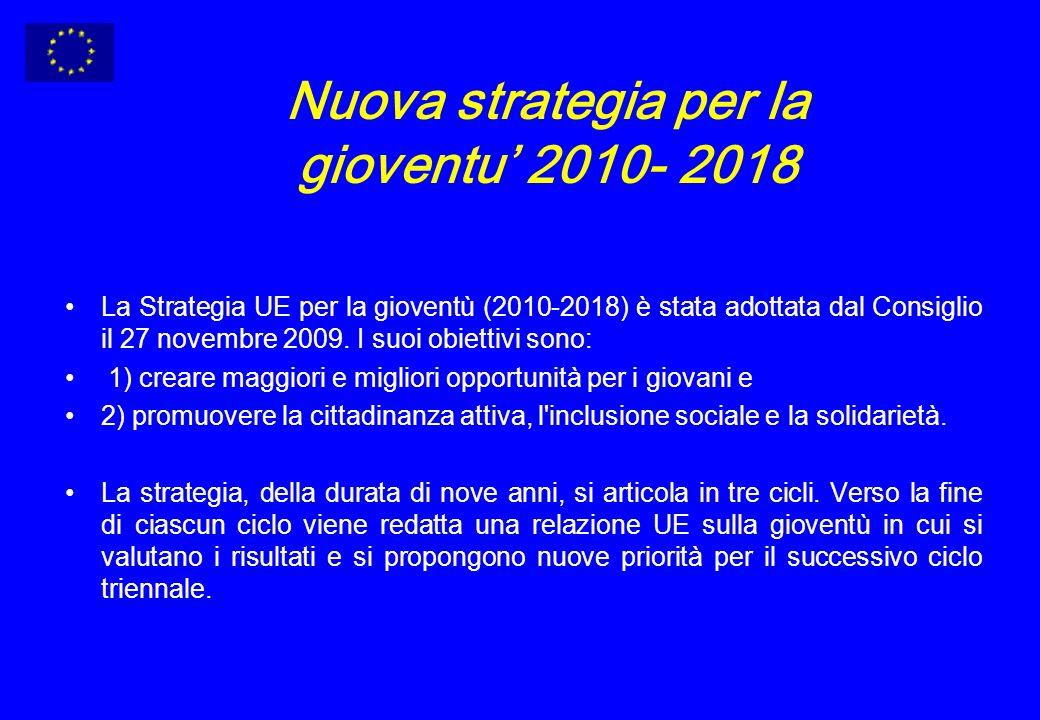 Nuova strategia per la gioventu 2010- 2018 La Strategia UE per la gioventù (2010-2018) è stata adottata dal Consiglio il 27 novembre 2009.
