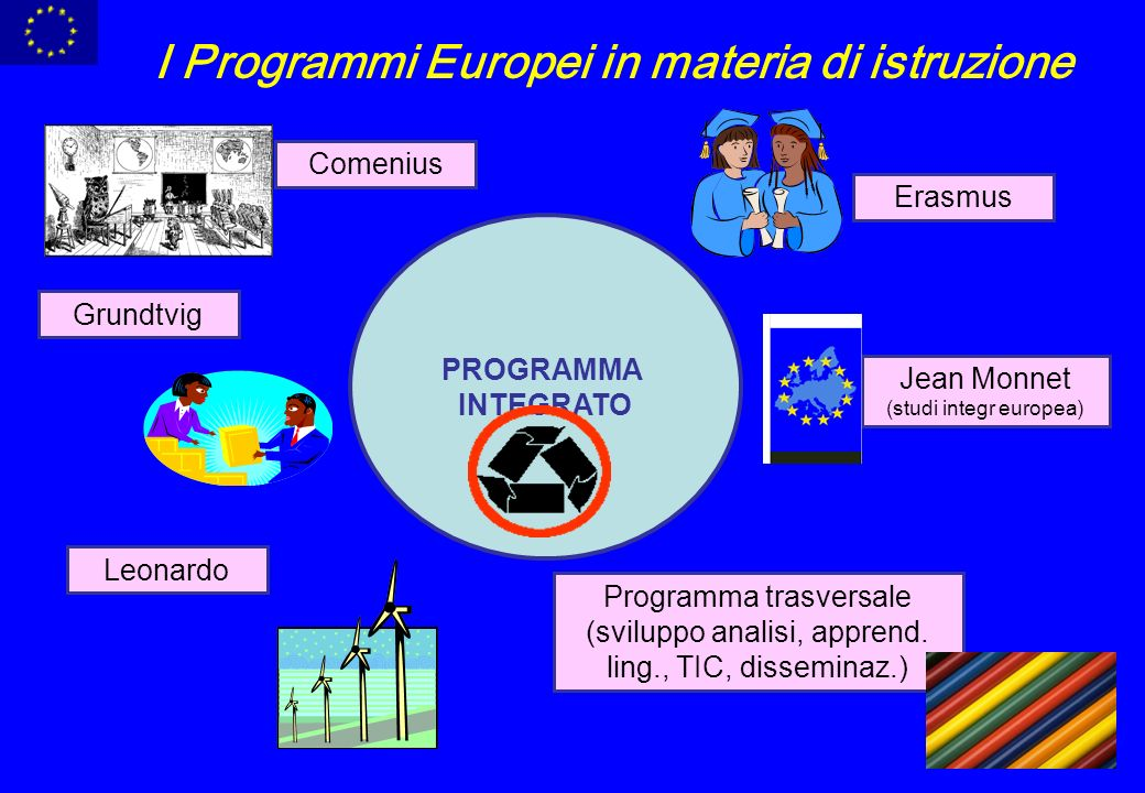 PROGRAMMA INTEGRATO Comenius Erasmus Grundtvig Leonardo Programma trasversale (sviluppo analisi, apprend.