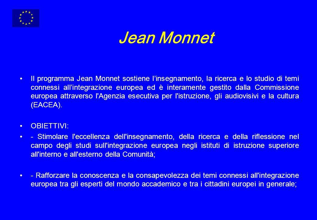 Jean Monnet Il programma Jean Monnet sostiene linsegnamento, la ricerca e lo studio di temi connessi allintegrazione europea ed è interamente gestito dalla Commissione europea attraverso l Agenzia esecutiva per l istruzione, gli audiovisivi e la cultura (EACEA).