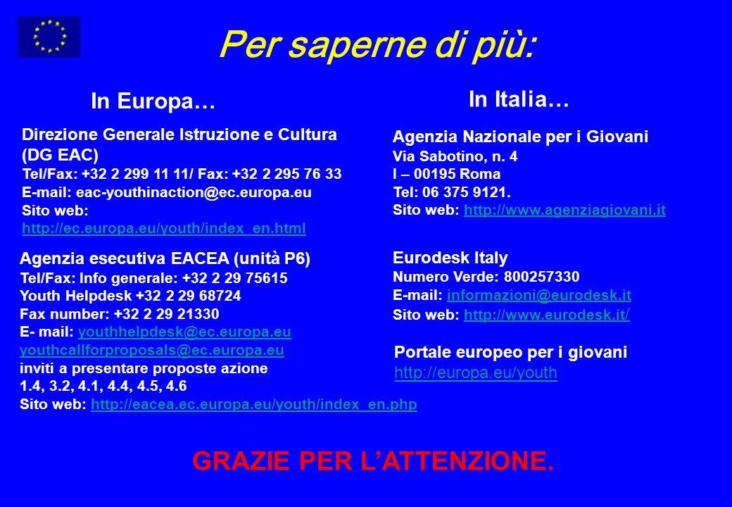 Agenzia Nazionale per i Giovani Via Sabotino, n. 4 I – 00195 Roma Tel: 06 375 9121.
