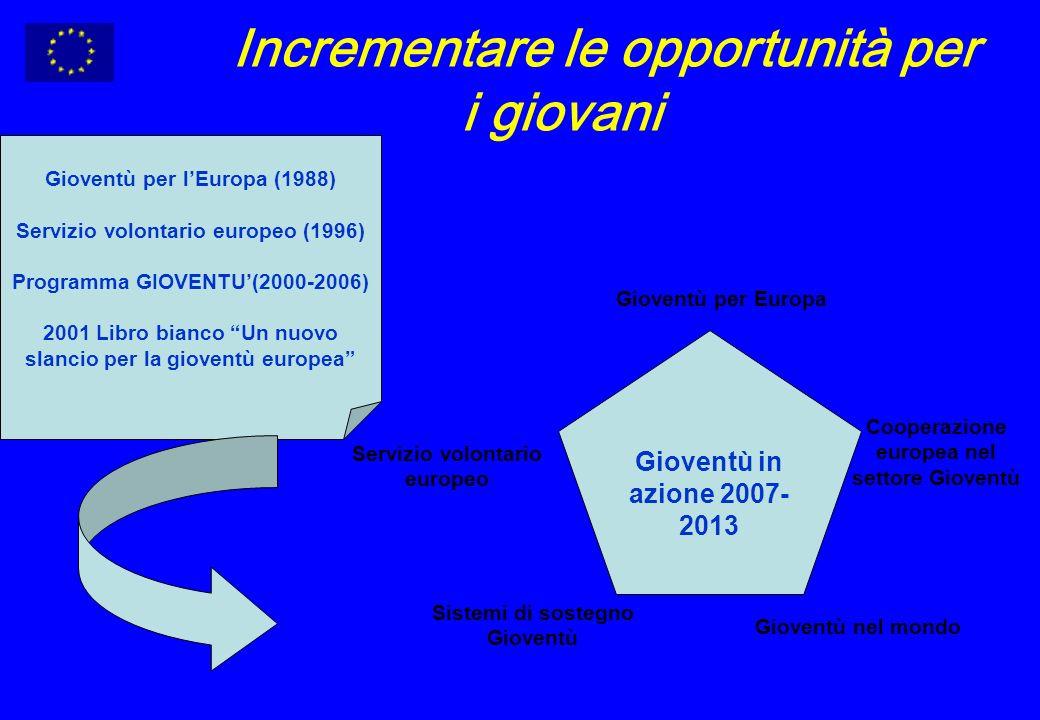 Incrementare le opportunità per i giovani Gioventù in azione 2007- 2013 Gioventù per Europa Servizio volontario europeo Gioventù nel mondo Cooperazione europea nel settore Gioventù Sistemi di sostegno Gioventù Gioventù per lEuropa (1988) Servizio volontario europeo (1996) Programma GIOVENTU(2000-2006) 2001 Libro bianco Un nuovo slancio per la gioventù europea
