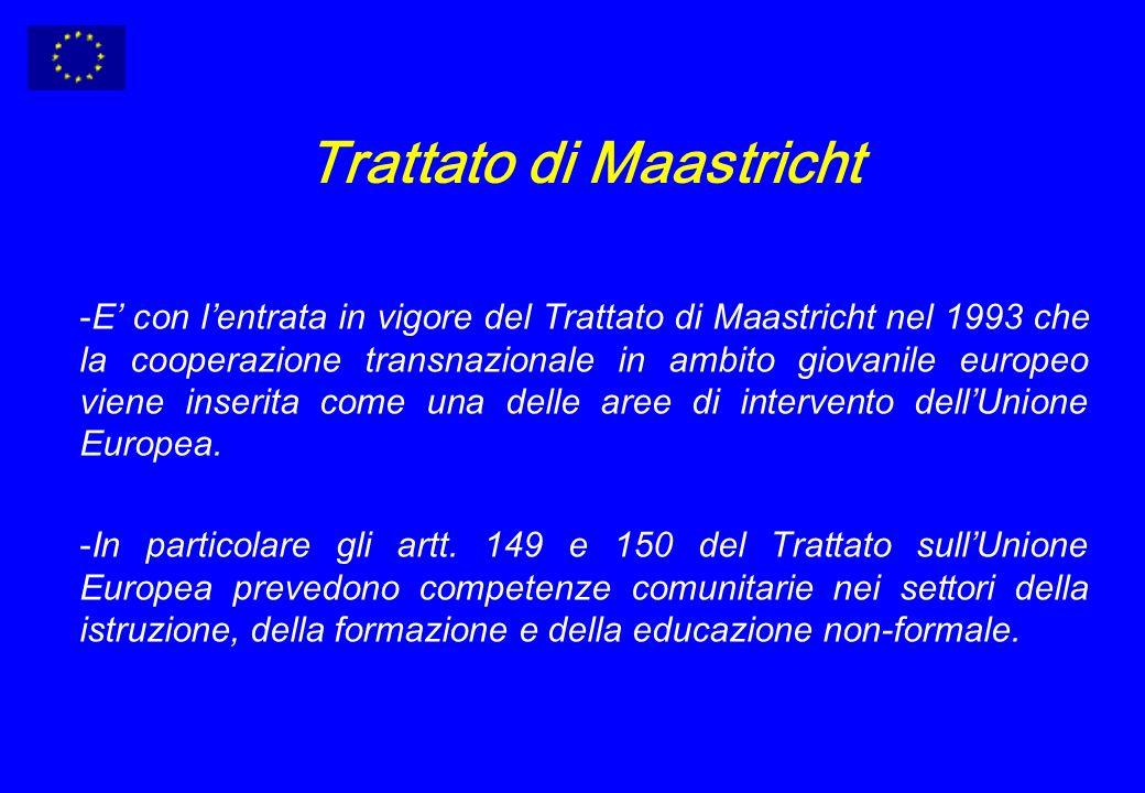 Trattato di Maastricht -E con lentrata in vigore del Trattato di Maastricht nel 1993 che la cooperazione transnazionale in ambito giovanile europeo viene inserita come una delle aree di intervento dellUnione Europea.