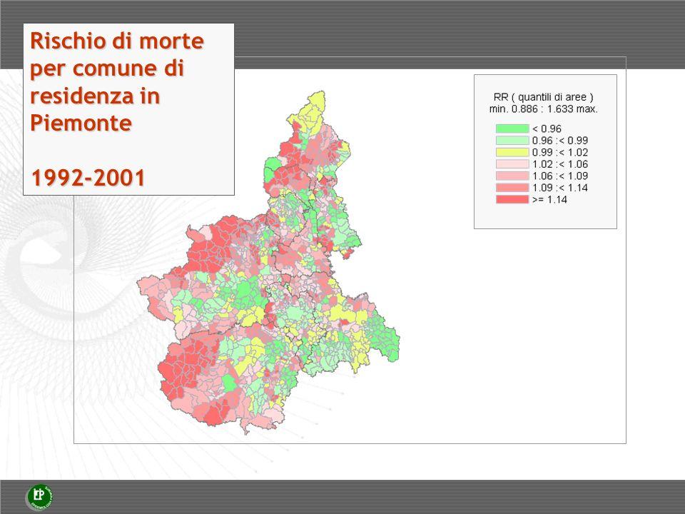 Rischio di morte per comune di residenza in Piemonte 1992-2001