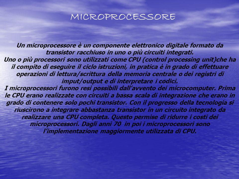 Un microprocessore è un componente elettronico digitale formato da transistor racchiuso in uno o più circuiti integrati. Uno o più processori sono uti