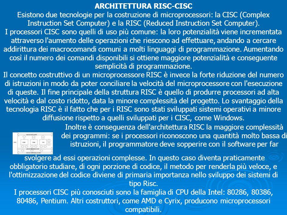 ARCHITETTURA RISC-CISC Esistono due tecnologie per la costruzione di microprocessori: la CISC (Complex Instruction Set Computer) e la RISC (Reduced In