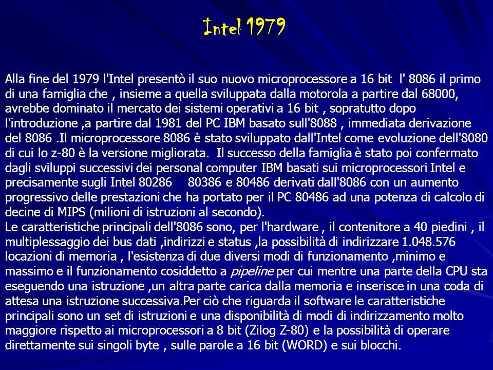 Alla fine del 1979 l'Intel presentò il suo nuovo microprocessore a 16 bit l' 8086 il primo di una famiglia che, insieme a quella sviluppata dalla moto