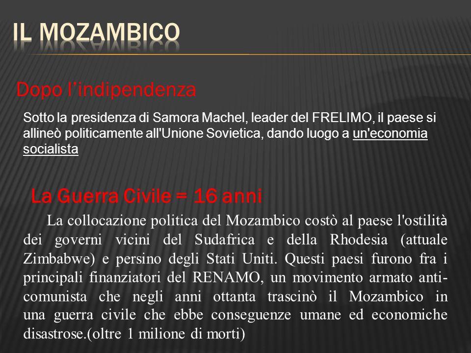 Sotto la presidenza di Samora Machel, leader del FRELIMO, il paese si allineò politicamente all'Unione Sovietica, dando luogo a un'economia socialista