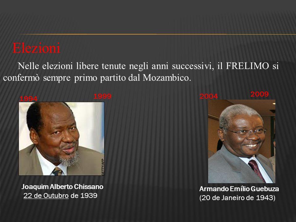 Nelle elezioni libere tenute negli anni successivi, il FRELIMO si confermò sempre primo partito dal Mozambico. 1994 1999 2004 2009 Elezioni Joaquim Al