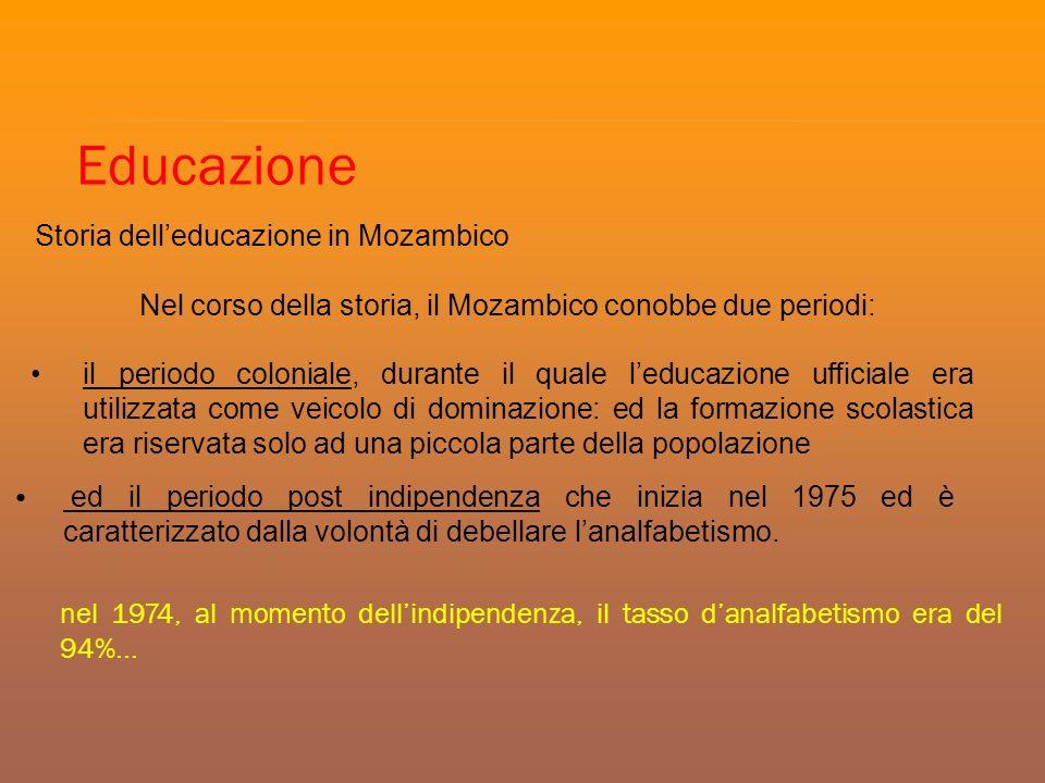 nel 1974, al momento dellindipendenza, il tasso danalfabetismo era del 94%... Educazione Storia delleducazione in Mozambico Nel corso della storia, il