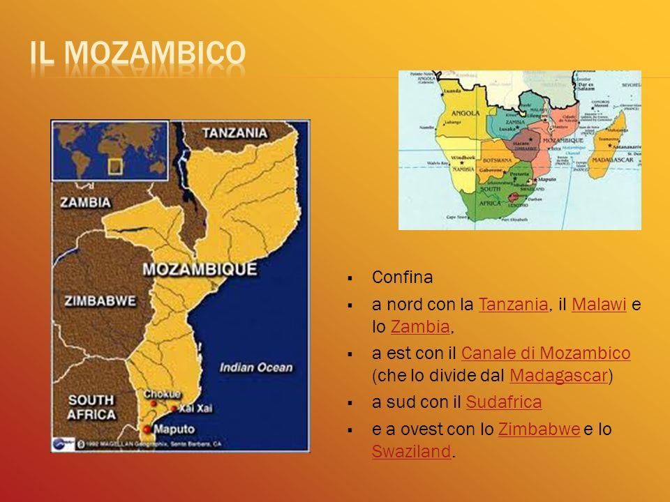 Confina a nord con la Tanzania, il Malawi e lo Zambia,TanzaniaMalawiZambia a est con il Canale di Mozambico (che lo divide dal Madagascar)Canale di Mo