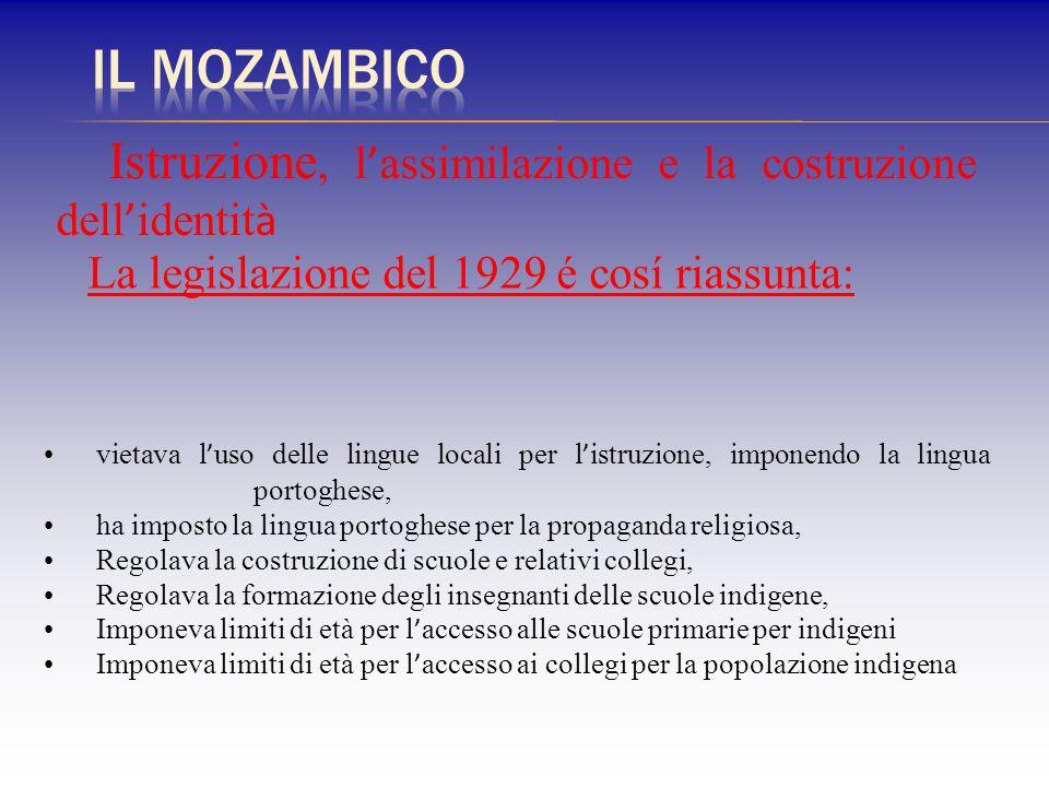 La legislazione del 1929 é cosí riassunta: Istruzione, l assimilazione e la costruzione dell identit à vietava l uso delle lingue locali per l istruzi