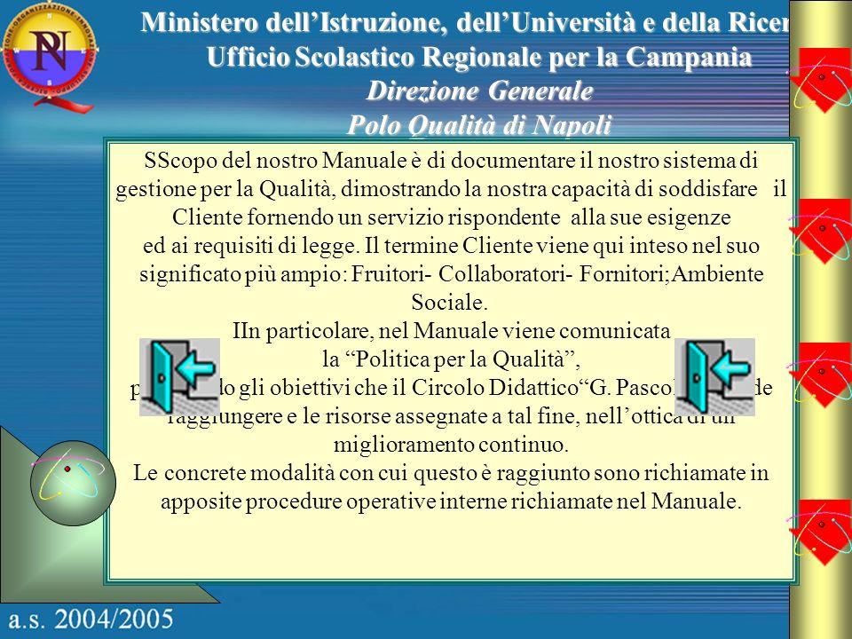 Ministero dellIstruzione, dellUniversità e della Ricerca Ufficio Scolastico Regionale per la Campania Direzione Generale Polo Qualità di Napoli SScopo
