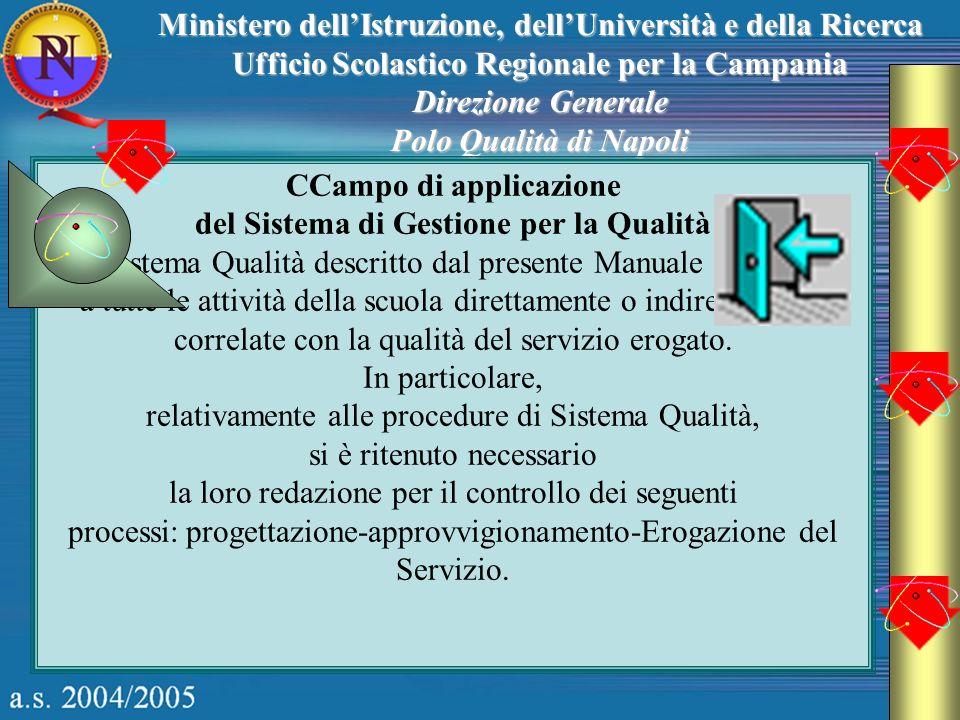 Ministero dellIstruzione, dellUniversità e della Ricerca Ufficio Scolastico Regionale per la Campania Direzione Generale Polo Qualità di Napoli CCampo