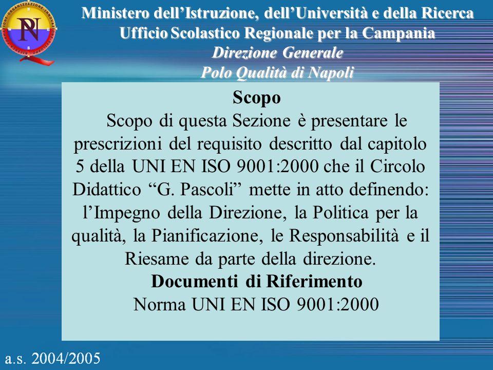 Ministero dellIstruzione, dellUniversità e della Ricerca Ufficio Scolastico Regionale per la Campania Direzione Generale Polo Qualità di Napoli Scopo