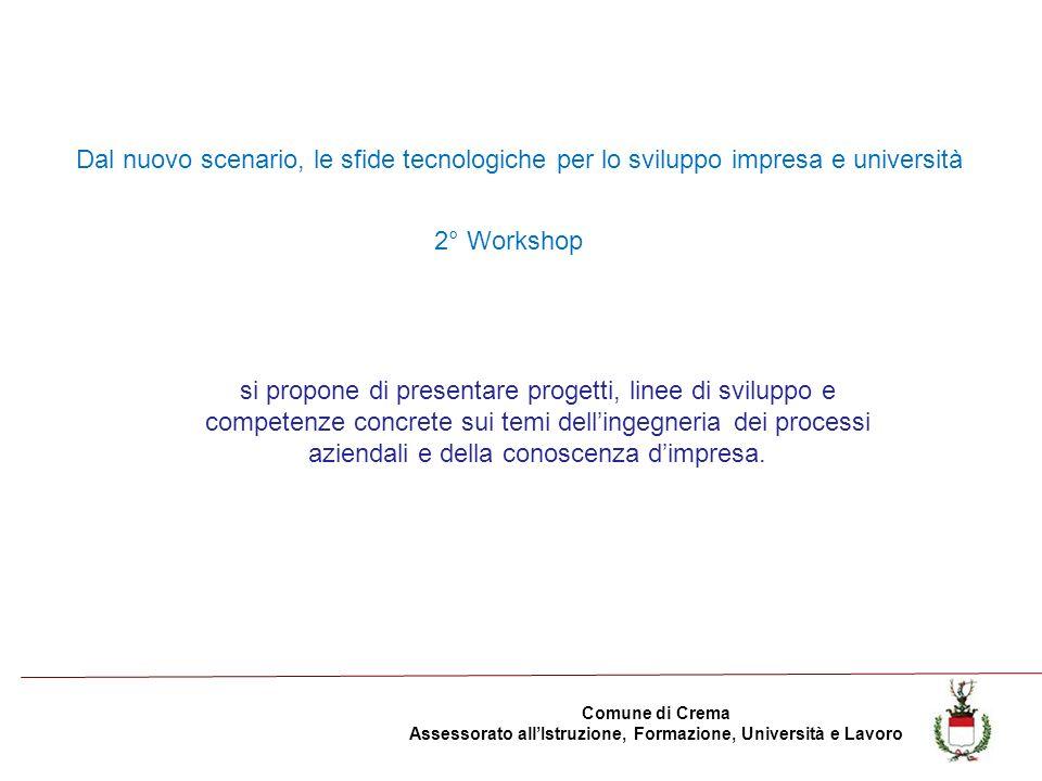 Comune di Crema Assessorato allIstruzione, Formazione, Università e Lavoro si propone di presentare progetti, linee di sviluppo e competenze concrete