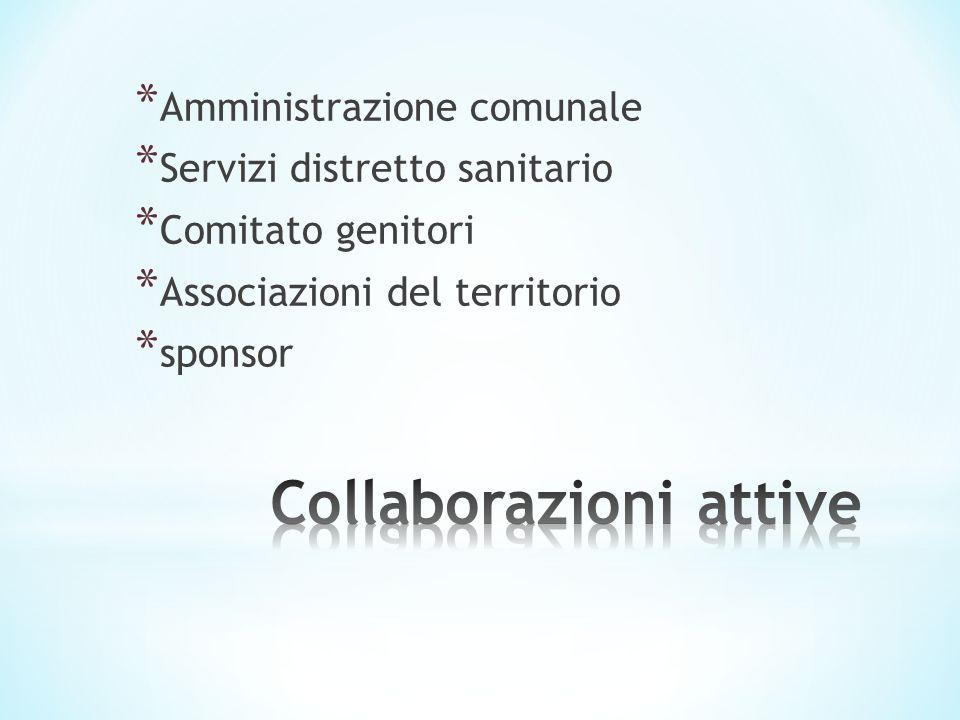 * Amministrazione comunale * Servizi distretto sanitario * Comitato genitori * Associazioni del territorio * sponsor