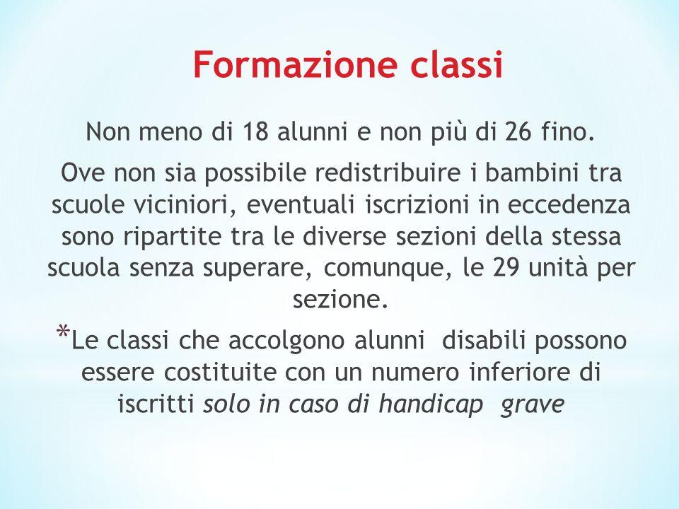 Formazione classi Non meno di 18 alunni e non più di 26 fino.