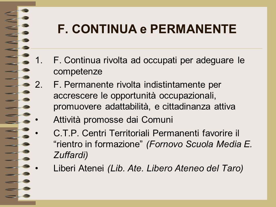 F. CONTINUA e PERMANENTE 1.F. Continua rivolta ad occupati per adeguare le competenze 2.F. Permanente rivolta indistintamente per accrescere le opport