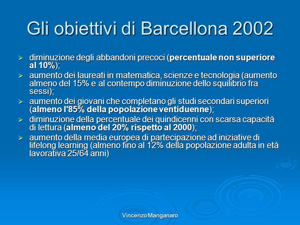Vincenzo Manganaro Gli obiettivi di Barcellona 2002 diminuzione degli abbandoni precoci (percentuale non superiore al 10%); diminuzione degli abbandon