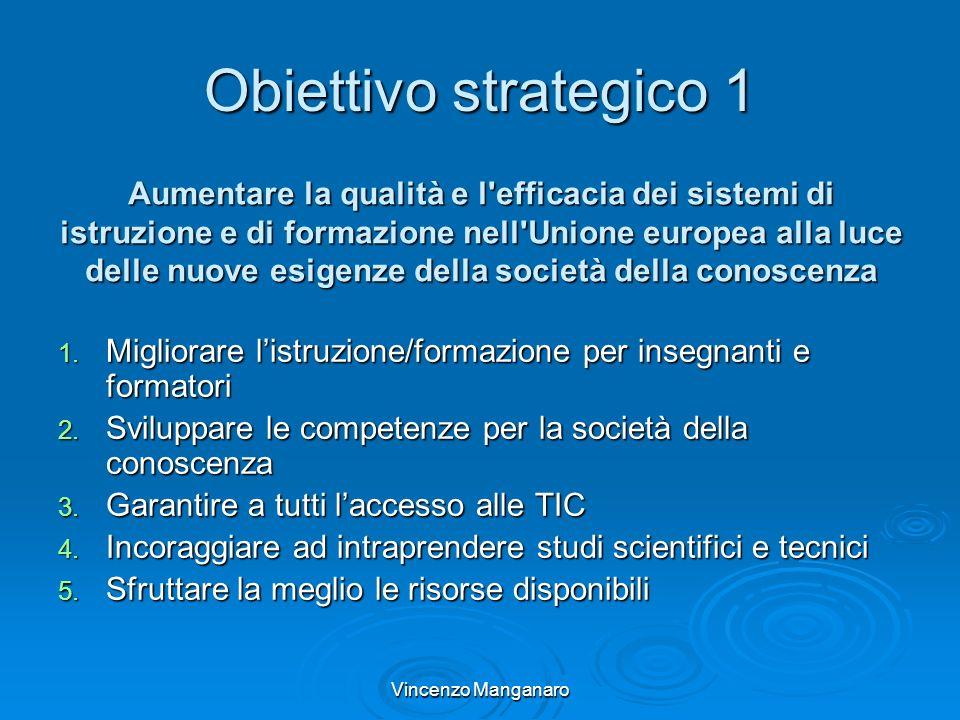Vincenzo Manganaro Obiettivo strategico 1 1. Migliorare listruzione/formazione per insegnanti e formatori 2. Sviluppare le competenze per la società d
