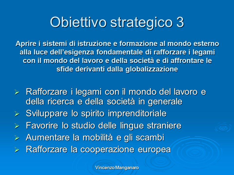 Vincenzo Manganaro Obiettivo strategico 3 Rafforzare i legami con il mondo del lavoro e della ricerca e della società in generale Rafforzare i legami