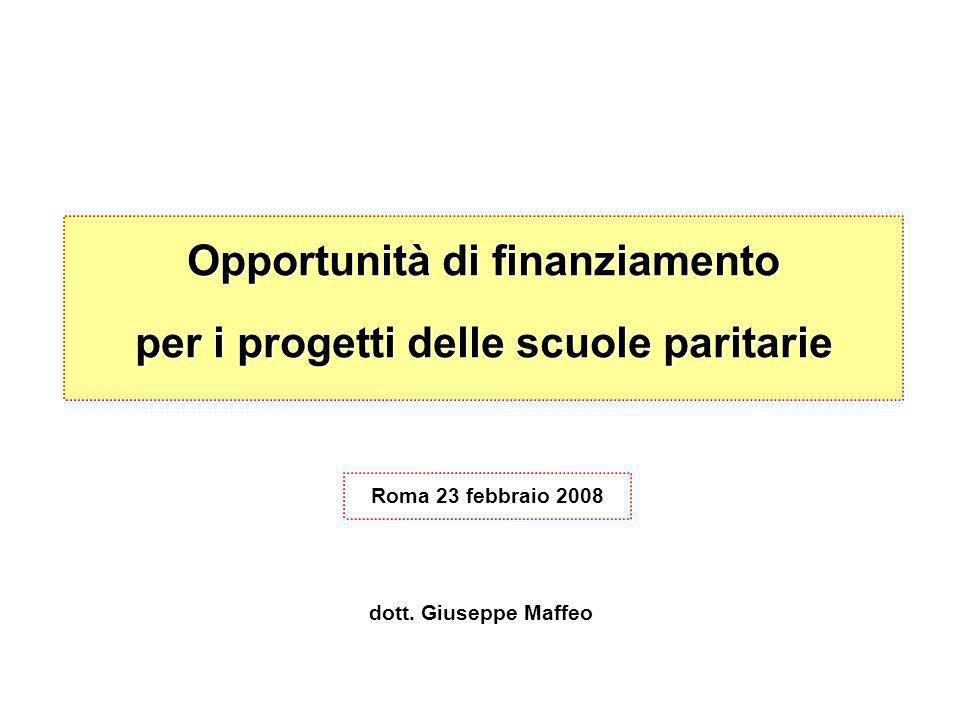 Opportunità di finanziamento per i progetti delle scuole paritarie Roma 23 febbraio 2008 dott.