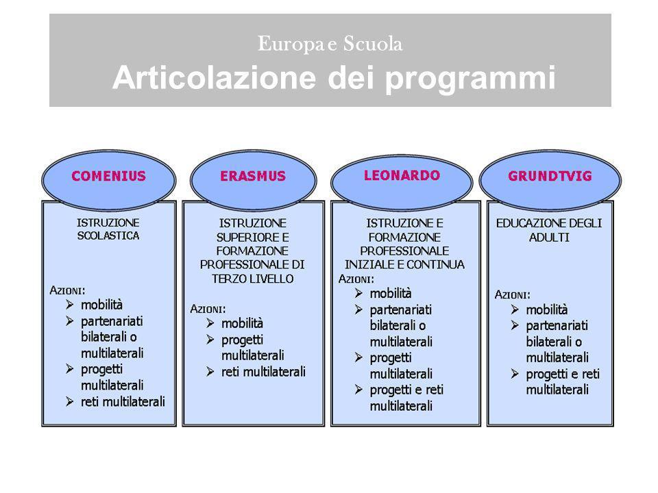Europa e Scuola Ripartizione dei finanziamenti per il periodo 2007-2013 –Erasmus 3,114 M –Leonardo da Vinci 1,725 M –Comenius 1,047 M –Grundtvig 358 M