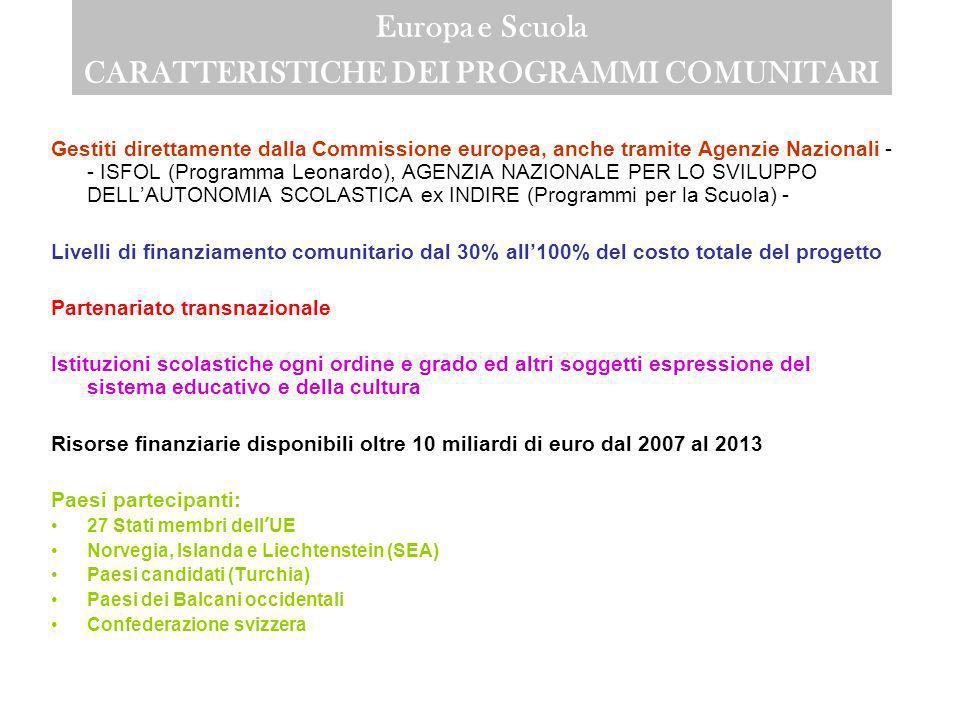 Europa e Scuola Termine ultimo per la presentazione delle candidature I principali termini sono: Carta universitaria di Erasmus 30 novembre 2007 Comen