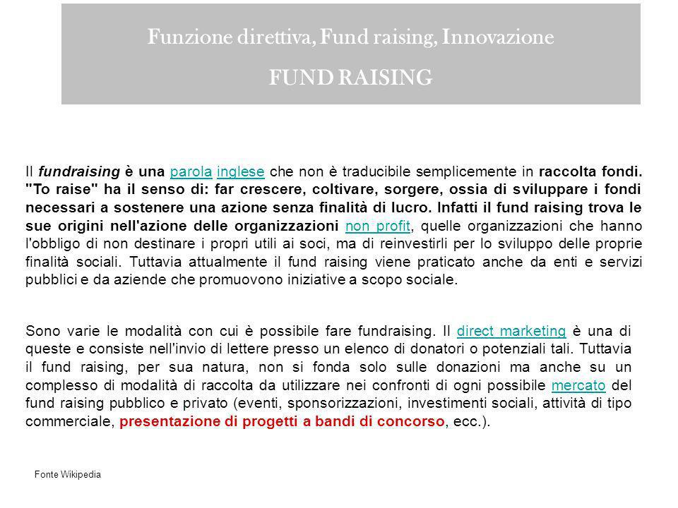 Funzione direttiva, Fund raising, Innovazione FUND RAISING Il fundraising è una parola inglese che non è traducibile semplicemente in raccolta fondi.