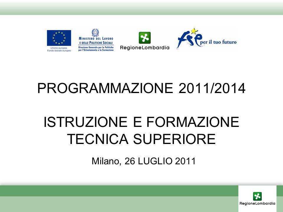 PROGRAMMAZIONE 2011/2014 ISTRUZIONE E FORMAZIONE TECNICA SUPERIORE Milano, 26 LUGLIO 2011