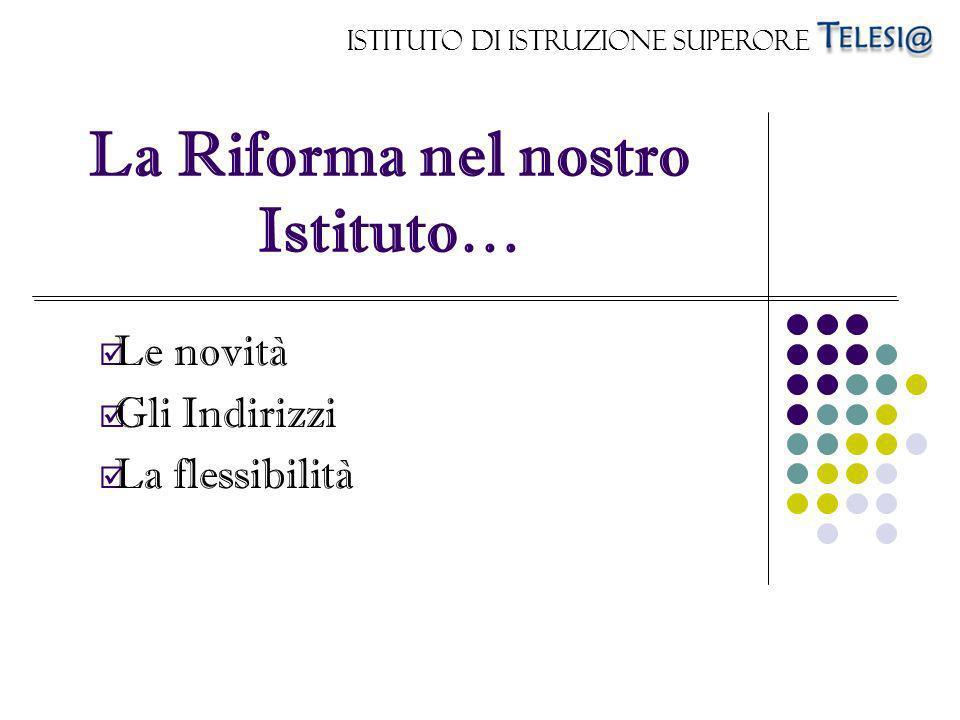 Istituto di Istruzione Superore La Riforma nel nostro Istituto… Le novità Gli Indirizzi La flessibilità