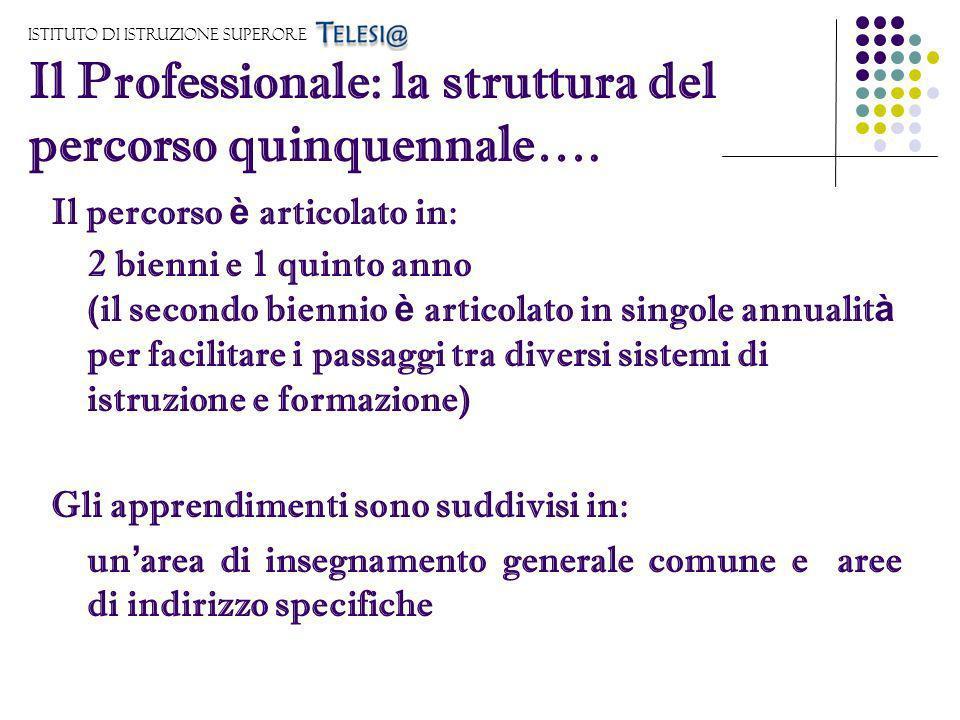 Istituto di Istruzione Superore Il Professionale: la struttura del percorso quinquennale…. Il percorso è articolato in: 2 bienni e 1 quinto anno (il s