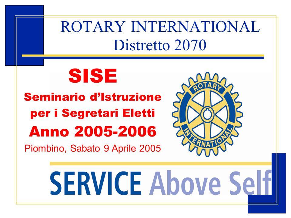 Carlo Michelotti, Gov.Distr.1980 (1996/97) ROTARY INTERNATIONAL Distretto 2070 SISE Seminario dIstruzione per i Segretari Eletti Anno 2005-2006 Piombi