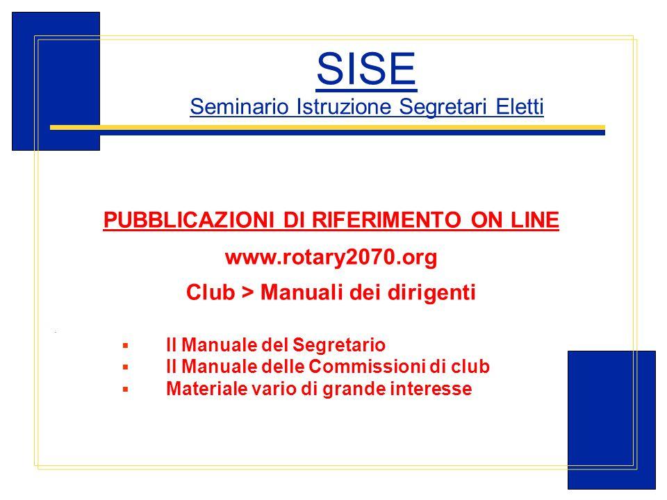 Carlo Michelotti, Gov.Distr.1980 (1996/97) SISE Seminario Istruzione Segretari Eletti PUBBLICAZIONI Dl RIFERIMENTO ON LINE www.rotary2070.org Club > M