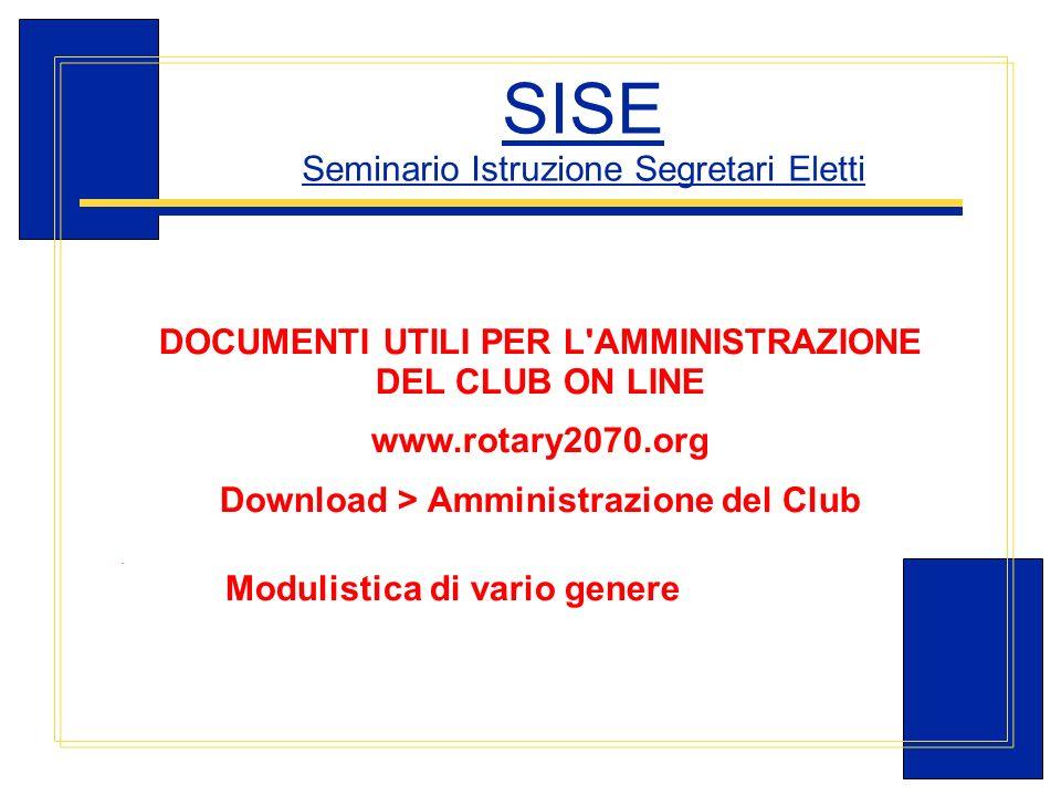 Carlo Michelotti, Gov.Distr.1980 (1996/97) SISE Seminario Istruzione Segretari Eletti DOCUMENTI UTILI PER L'AMMINISTRAZIONE DEL CLUB ON LINE www.rotar