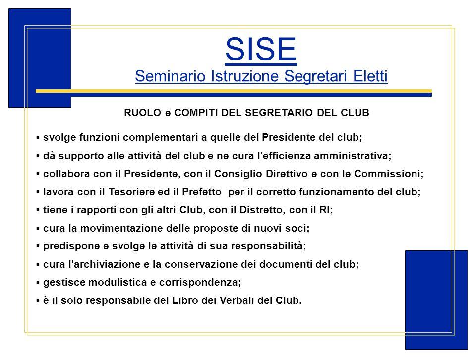 Carlo Michelotti, Gov.Distr.1980 (1996/97) SISE Seminario Istruzione Segretari Eletti RUOLO e COMPITI DEL SEGRETARIO DEL CLUB svolge funzioni compleme