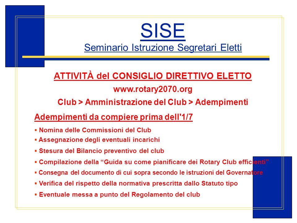 Carlo Michelotti, Gov.Distr.1980 (1996/97) SISE Seminario Istruzione Segretari Eletti ATTIVITÀ del CONSIGLIO DIRETTIVO ELETTO www.rotary2070.org Club