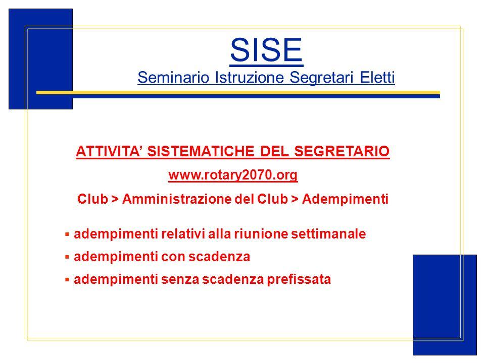 Carlo Michelotti, Gov.Distr.1980 (1996/97) SISE Seminario Istruzione Segretari Eletti ATTIVITA SISTEMATICHE DEL SEGRETARIO www.rotary2070.org Club > A