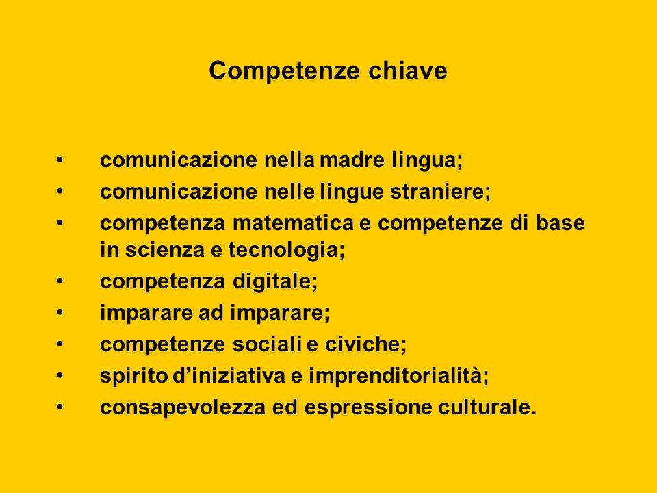 Competenze chiave comunicazione nella madre lingua; comunicazione nelle lingue straniere; competenza matematica e competenze di base in scienza e tecn