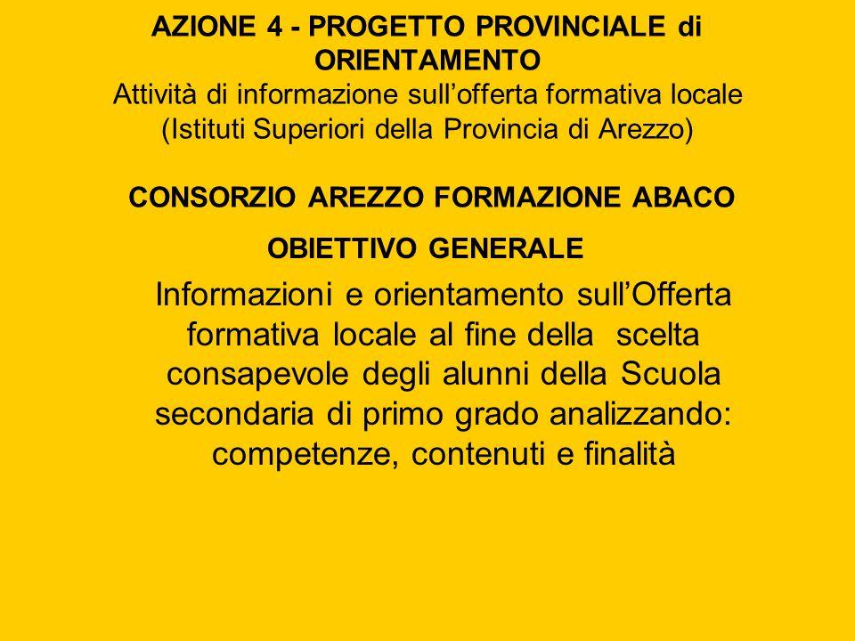 AZIONE 4 - PROGETTO PROVINCIALE di ORIENTAMENTO Attività di informazione sullofferta formativa locale (Istituti Superiori della Provincia di Arezzo) C