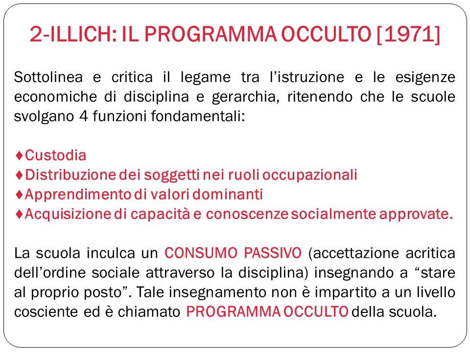 2-ILLICH: IL PROGRAMMA OCCULTO [1971] Sottolinea e critica il legame tra listruzione e le esigenze economiche di disciplina e gerarchia, ritenendo che