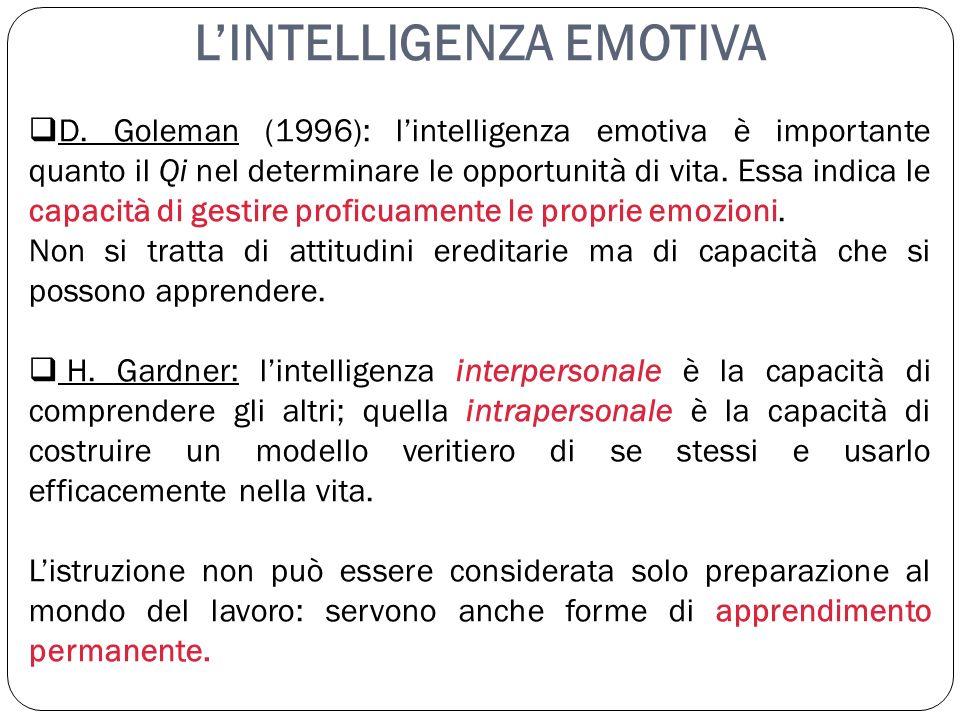 LINTELLIGENZA EMOTIVA D. Goleman (1996): lintelligenza emotiva è importante quanto il Qi nel determinare le opportunità di vita. Essa indica le capaci