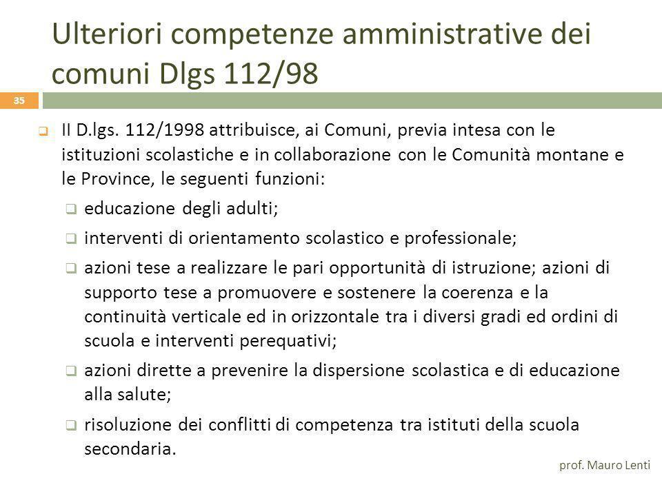 Ulteriori competenze dei Comuni L 11 gennaio 1996 n.