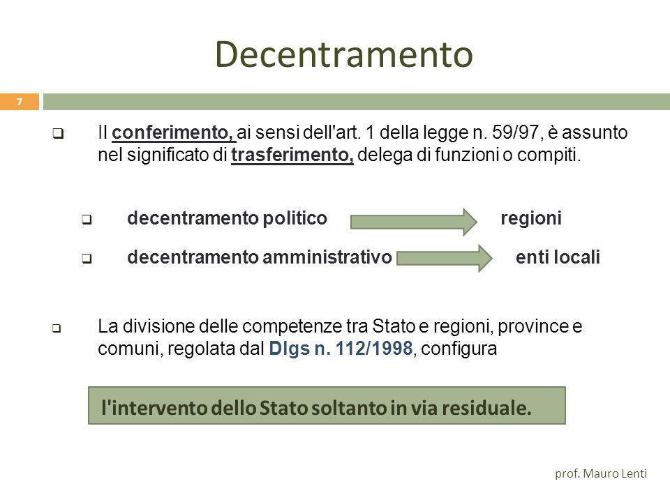 Decentramento Il conferimento, ai sensi dell art.1 della legge n.