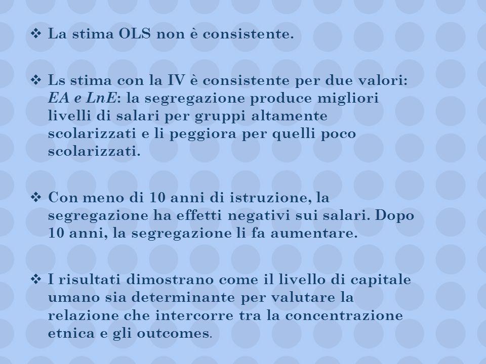 La stima OLS non è consistente. Ls stima con la IV è consistente per due valori: EA e LnE : la segregazione produce migliori livelli di salari per gru