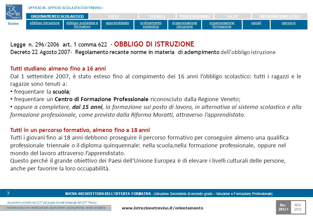 NOV 2012 www.istruzionetreviso.it/orientamento 4 Rev.