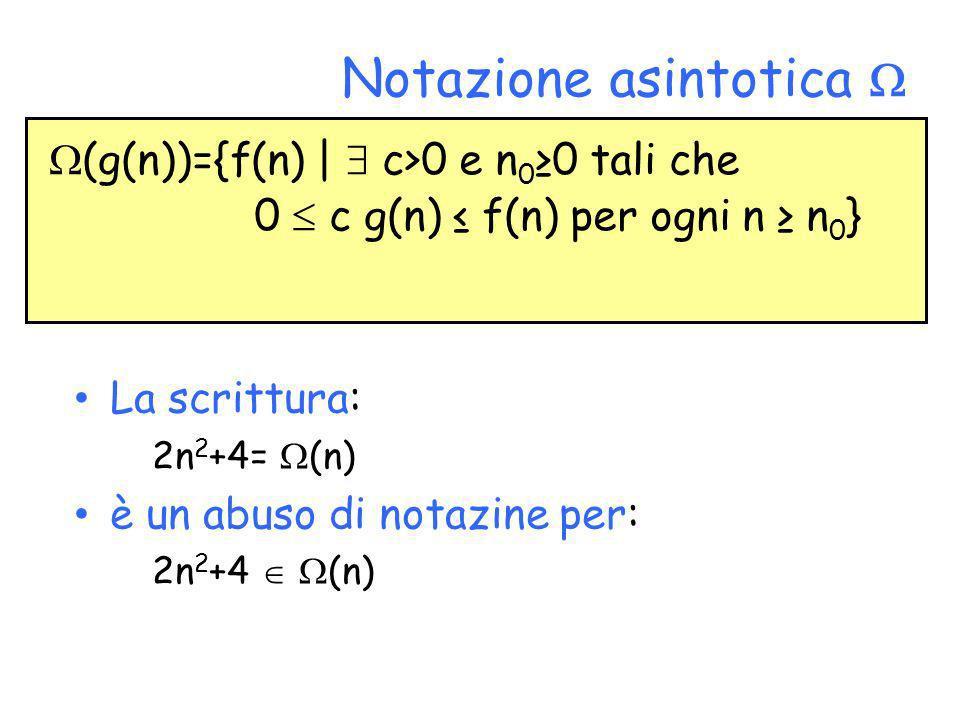 Notazione asintotica La scrittura: 2n 2 +4= (n) è un abuso di notazine per: 2n 2 +4 (n) (g(n))={f(n) | c>0 e n 0 0 tali che 0 c g(n) f(n) per ogni n n