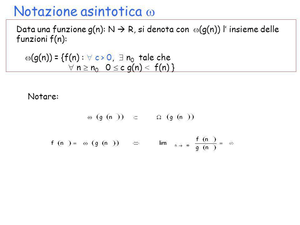 Notazione asintotica Data una funzione g(n): N R, si denota con (g(n)) l insieme delle funzioni f(n): (g(n)) = {f(n) : c > 0, n 0 tale che n n 0 0 c g