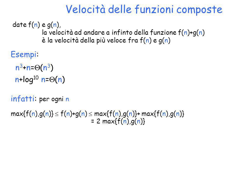Velocità delle funzioni composte date f(n) e g(n), la velocità ad andare a infinto della funzione f(n)+g(n) è la velocità della più veloce fra f(n) e