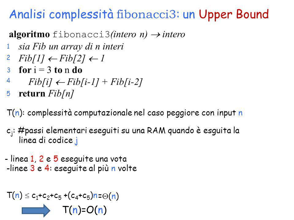 1 2 3 4 5 Analisi complessità fibonacci3 : un Upper Bound T(n): complessità computazionale nel caso peggiore con input n c j : #passi elementari esegu